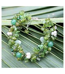 pearl and peridot beaded bracelet, 'lime sensation' (thailand)