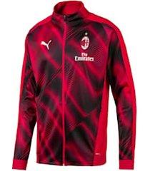 ac milan stadionjack voor heren, zwart/rood, maat xl | puma