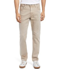 men's ag everett slim straight fit stretch jeans, size 32 x 33 - beige