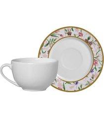 jogo de xícaras de chá com pires alleanza romântico cerâmica com 4 peças 250ml