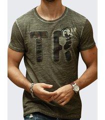 t-shirt casual da uomo manica corta traspirante in cotone stampato lettera estiva