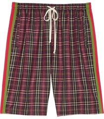 gucci oversized tartan shorts - red