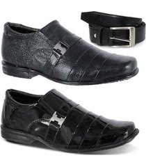 kit 2 pares sapato social e 1 cinto infantil leoppé em couro - masculino
