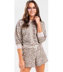 sita leopard front tie lounge shorts - brown