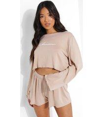 petite woman pyjama set met shorts, stone