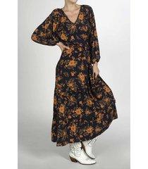 vestido para mujer tennis, largo y estampado de flores mostaza