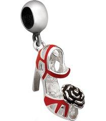 berloque joia em casa sapato vermelho com flor prata