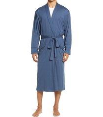 men's daniel buchler peruvian pima cotton robe, size medium/large - blue