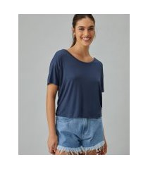 amaro feminino t-shirt básica u, azul marinho