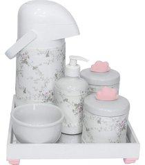 kit higiene espelho completo porcelanas, garrafa e capa nuvem rosa quarto bebê menina