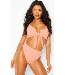 crinkle tie front high waist bikini, coral