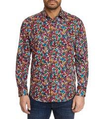 robert graham men's angelo classic-fit floral sport shirt - pink multicolor - size xl
