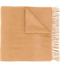 boss fringed knit scarf - neutrals