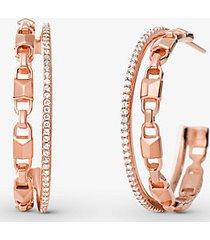 mk orecchini a cerchio mercer link in argento sterling placcato con metallo prezioso con aureole e pietre pavé - oro rosa (oro rosa) - michael kors