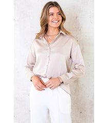 satijnen blouse beige