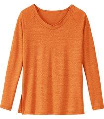 jersey shirt met raglanmouwen van 100 % linnen, kaneel 40/42