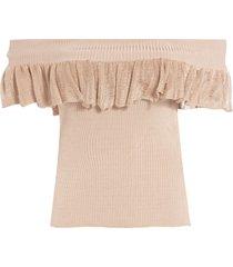 blusa feminina ombro a ombro - bege