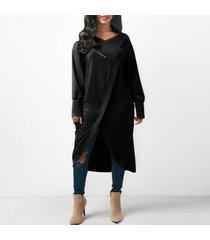 zanzea 2018 invierno de las mujeres de cuello redondo de manga larga midi vestidos de ocio sólido holgados irregulares splits trabajo ol vestido kaftan negro -negro
