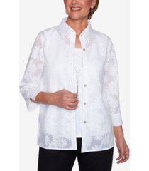 alfred dunner women's missy lazy daisy two for one top