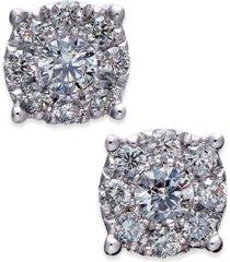 diamond cluster stud earrings (1/2 ct. t.w.) in 14k white gold