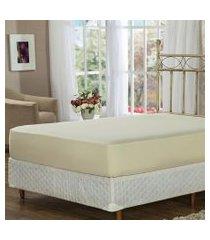 lençol de baixo casal bege com elástico soft touch plumasul