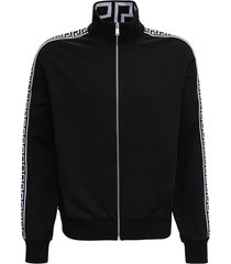 versace black cotton sweatshirt with greca inserts