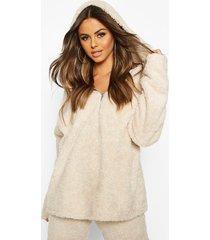 borg oversized zip hoodie, cream