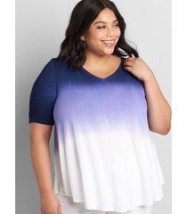 lane bryant women's perfect sleeve max swing tunic tee 10/12 purple tie dye