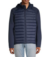 saks fifth avenue men's mixed-media hooded down puffer jacket - caviar - size l