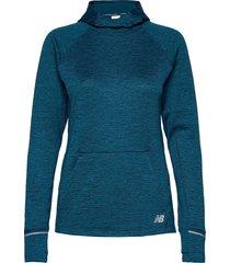 nb heat grid hoodie hoodie trui blauw new balance