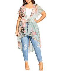 plus size women's city chic sierra scarf floral short sleeve jacket, size small - green