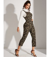 yoins bolsillos laterales de leopardo marrón sin mangas mono