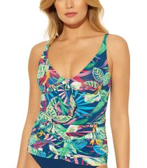 bleu by rod beattie it's a jungle out there tie-front tankini top women's swimsuit