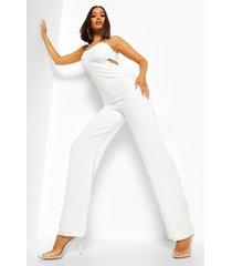 wide leg jumpsuit met uitsnijding en ketting, white
