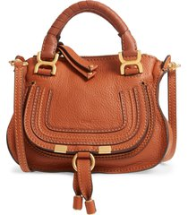 chloe mini marcie leather crossbody bag - brown