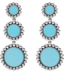lagos maya ceramic triple circle drop earrings in silver/blue at nordstrom