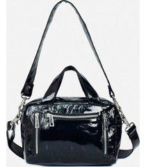 núnoo women's donna gloss leather shoulder bag - black