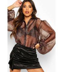 leopard organza puff sleeve shirt, brown