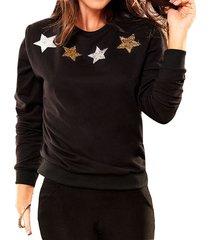 buzo stars negro  para mujer croydon