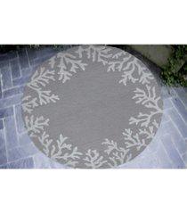 liora manne' capri 1620 coral border 5' indoor/outdoor round area rug