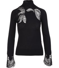 ermanno scervino black high neck sweater in merino wool and lace