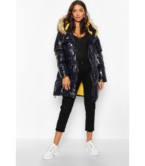 tall faux fur hood high shine padded coat, navy