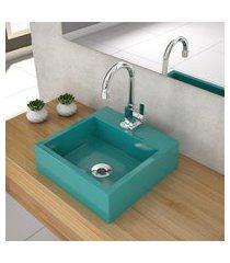 cuba de apoio p/ banheiro compace veneza q395w quadrada azul turquesa