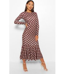 polka dot fishtail long sleeve midaxi dress, chocolate