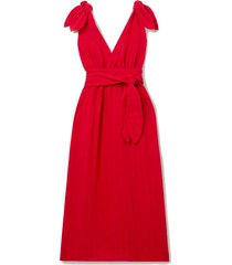 calypso belted striped linen and tencel lyocell-blend midi dress