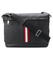 bally bolsa tiracolo oversized com detalhe de listras - preto