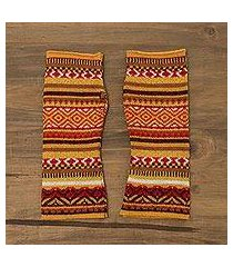 alpaca blend fingerless gloves, 'vibrant warmth' (peru)