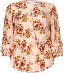 blouse met bloemenprint postie  nude