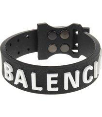 balenciaga woman black rubber tag bracelet