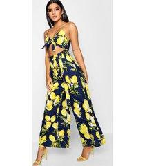 lemon print tie front jumpsuit, navy